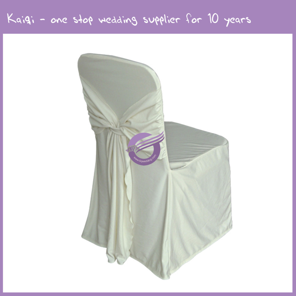 Ivory Attached Ties Spandex Chair Cover 444