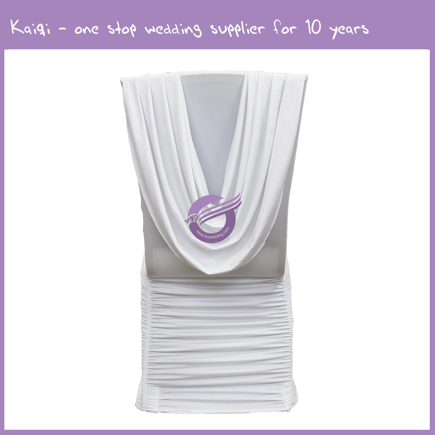 White Attached Ties Spandex Chair Cover 987 Kaiqi Wedding