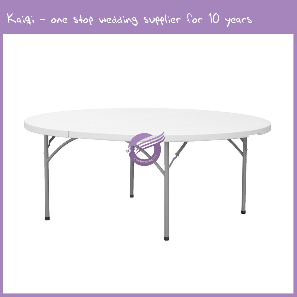 Plastic Lightweight Circular 6ft Round Foldable Banquet Table ZY00110