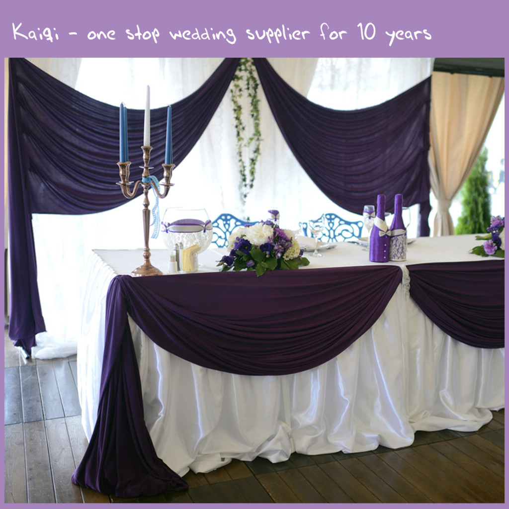 Purple Decorative Spandex Wedding Backdrop Draping Ceiling Covering