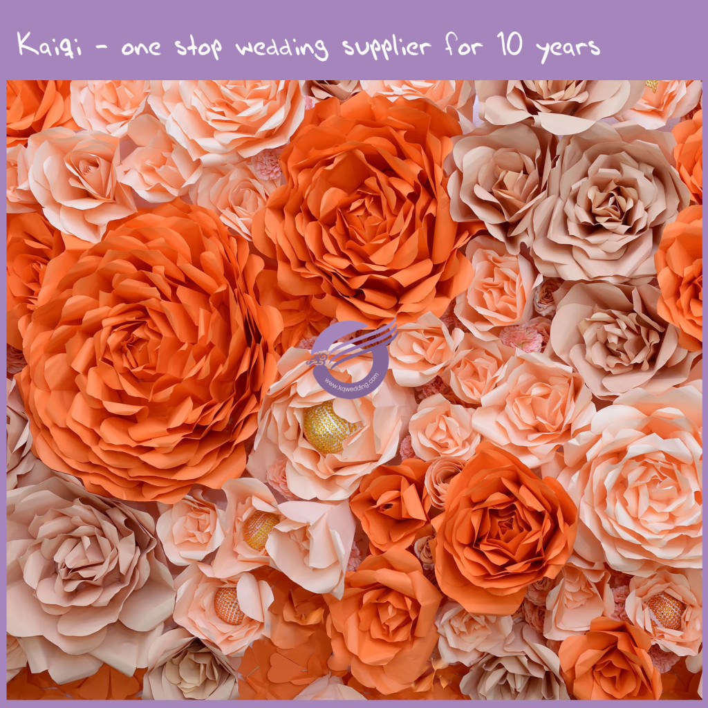 Orange Blush Wedding Paper Flower Background 58 Kaiqi Wedding